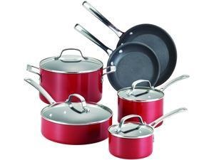 Circulon 14510 Genesis 10 Piece Red Hard Anodized Aluminum Cookware Set