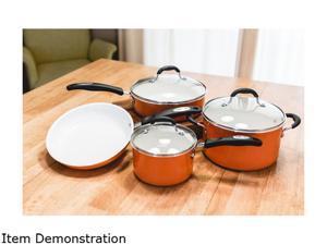 Cuisinart 10-Piece Ceramic Cookware Set, Orange
