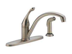 DELTA 440-SS-DST Collins Single Handle Kitchen Faucet with Spray Stainless Steel