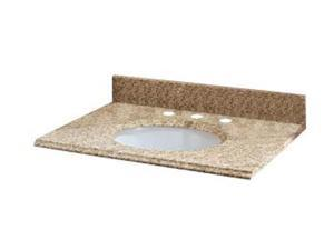 Pegasus 37992 37-Inch Golden Hill Granite Vanity Top with White Bowl and 8-Inch Spread