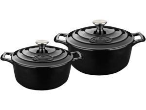 La Cuisine 4 Pc Set Including 2.2 QT and 3.7 QT Round Casseroles w/Lids, Black