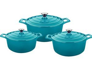 La Cuisine 6 Pc Set Including 2.2 QT, 3.7 QT and 5 QT Round Casseroles w/Lids