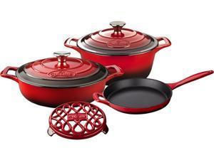 """La Cuisine 6 pc set, Pro Range 3.75QT w/lid, 6.5QT Round w/lid, 10"""" Fry, 7"""" Trivet"""