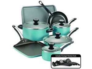 Farberware 21926 High Performance Nonstick 17-Piece Cookware Set, Aqua