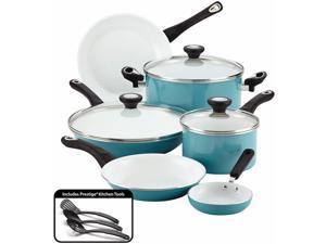 Farberware 17494 Purecook Ceramic Nonstick Cookware 12 Piece Cookware Set, Aqua