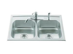 KOHLER K-3346-3-NA Toccata Double Equal Self-Rimming Kitchen Sink