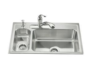 KOHLER K-3347L-4-NA Toccata High/low Self-rimming Kitchen Sink