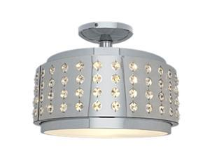Access Lighting Bling Crystal and Chrome Flushmount - 1 Light Chrome Finish w/ Crystal Accents Glass Chrome Semi Flush