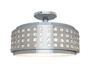 Access Lighting Bling Crystal and Chrome Flushmount - 2 Light Chrome Finish w/ Crystal Accents Glass Chrome Semi Flush
