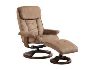Comfort Chair Mocha Microfiber Swivel, Recliner with Ottoman