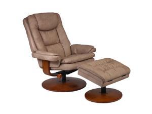 Mac Motion Chairs Stone tan Nubuck Bonded Leather Swivel, Recliner with Ottoman