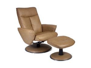 Mac Motion Chairs Cobblestone Bonded Leather Swivel, Recliner with Ottoman