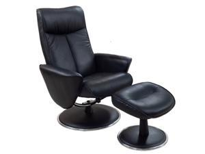 Mac Motion Chairs Black Bonded Leather Swivel, Recliner with Ottoman