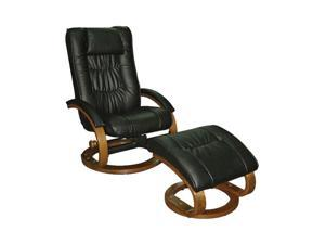Mac Motion Chairs Black Leather Swivel, Recliner with Ottoman