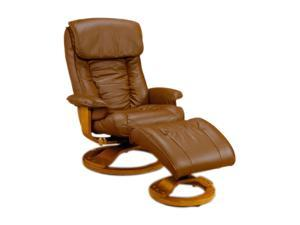 Mac Motion Chairs 819 Saddle Brown Leather Swivel, Recliner with Ottoman