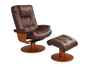 Oslo Collection BRYNE Palace Hickory Brown Bonded Leather Swivel, Recliner with Ottoman