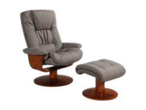 Oslo Collection BRYNE Gun Metal Slate Nubuck Bonded Leather Swivel, Recliner with Ottoman