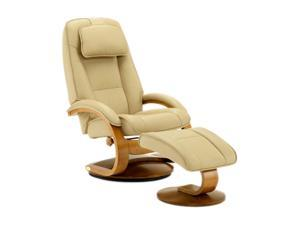 Oslo Collection Bergen Cobblestone Tan Top Grain Leather Swivel, Recliner with Ottoman