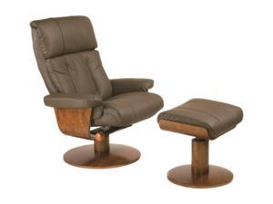 Oslo Collection NORWAY Dark Brown Top Grain Leather Swivel, Recliner with Ottoman