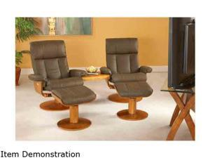 Oslo Collection NORWAY Dark Brown Top Grain Leather Swivel, Recliner with Ottoman and Connector Table