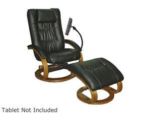 Mac Motion Chairs Black Leather Swivel Recliner and Ottoman with Universal Tablet Holder