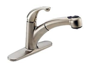 DELTA 467-SS-DST Palo Single Handle Pull-Out Kitchen Faucet Stainless Steel