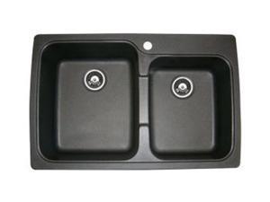 Astracast US20RZUSSK Offset Double Bowl Kitchen Sink, Metallic Black
