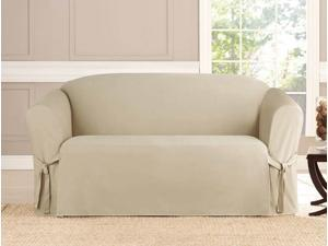 Kashi Home Slip Cover Mircosuede Loveseat - Taupe