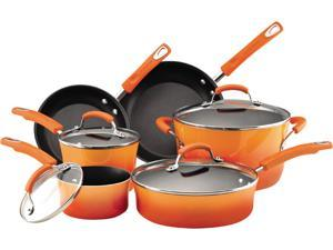 Rachael Ray Orange Porcelain Enamel II 10 Piece Cookware Set