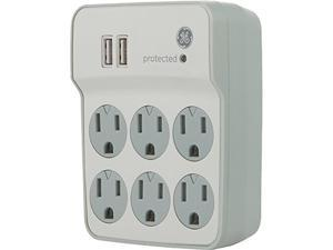 GE 14273 6-Outlet Surge Protector Wall Tap with 2 USB Ports