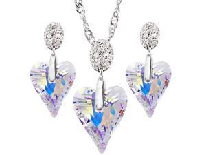 "JA-ME 17mm Swarovski Wild Heart Color-Changing Crystal on Cubic Zirconia 16"" Necklace w/ Matching 12mm Earrings"