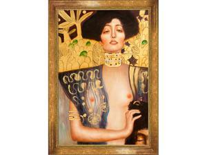 """Art Reproduction Oil Painting - Klimt Paintings: Judith Klimt I with Vienna Wood Frame - Broken Gold Leaf Finish - 31"""" X 43"""" - Hand Painted Framed Canvas Art"""