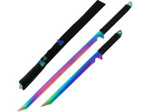 Dual Rainbow Blade Full Tang Ninja Swords w/ Sheath