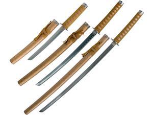 Whetstone Golden Dragon Samurai Sword Set of 3 with Stand