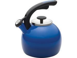 Rachael Ray 2-qt. Porcelain Enamel Crescent Tea Kettle, Blue