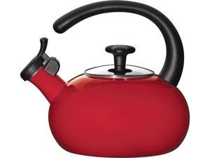 Rachael Ray 1.5-qt. Porcelain Enamel Curve Tea Kettle, Red