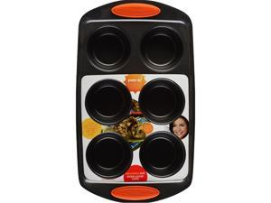 Rachael Ray 54078 Oven Lovin' Cups Nonstick Bakeware Muffin and Cupcake Pan, 6-Cup, Orange Grip