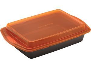 Rachael Ray Nonstick Bakeware 57994 9-Inch by 13-Inch Covered Cake Pan, Gray with Orange Lid and Handles