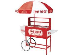 Nostalgia Electrics 48-Inch Tall Vintage Collection Carnival Hot Dog Cart with Umbrella, HDC-701