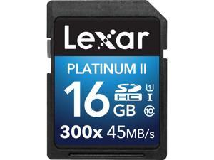 Lexar 16GB Platinum II 300x SDHC UHS-I/U1 Class 10 Memory Card (LSD16GBBNL300)