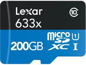 Lexar 200GB High-Performance 633x microSDXC UHS-I/U1 Class 10 Memory Card w/USB 3.0  Reader (LSDMI200BBNL633R)