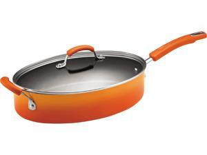 Rachael Ray Hard Enamel Cookware 5-Quart Covered Oval Saute with Helper Handle, Orange Two-Tone