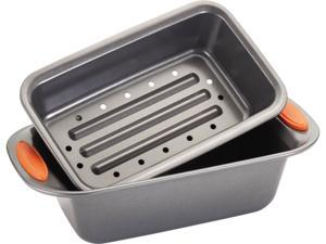 Rachael Ray 57655 Oven Lovin' Non-Stick 2-Piece Meatloaf Pan Set, Orange