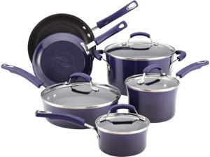 Rachael Ray 10-pc. Nonstick Porcelain Enamel II Cookware Set, Eggplant Gradient