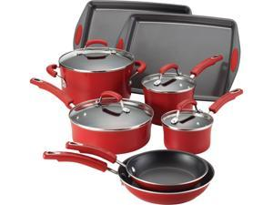 Rachael Ray 12-pc. Nonstick Porcelain II Cookware Set, Red Gradient