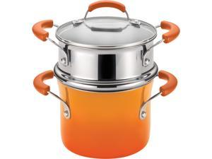 Rachael Ray 3-qt. Porcelain II Covered Steamer Set, Orange