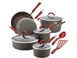 Rachael Ray Cucina Hard-Anodized Nonstick 12-Piece Cookware Set in Gray with Cranberry Red Handle