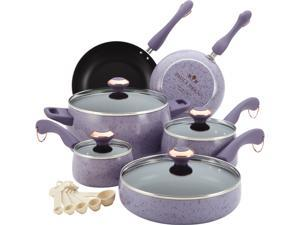 Paula Deen 13064 Signature Porcelain Nonstick 15-Piece Cookware Set, Lavender Speckle