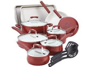 Paula Deen 14275 Savannah Collection Aluminum Nonstick 17-Piece Cookware Set, Red