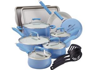 Paula Deen 14276 Savannah Collection Aluminum Nonstick 17-Piece Cookware Set, Blueberry
